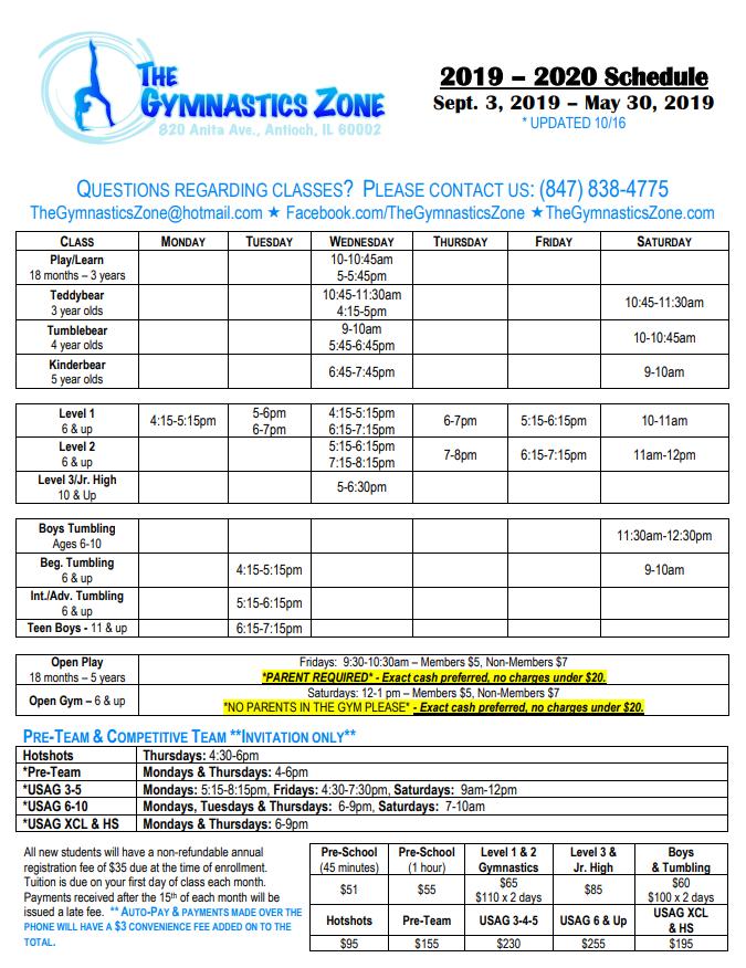 19-20 Schedule