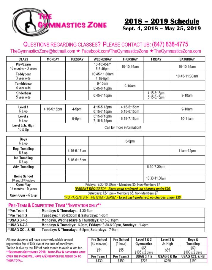 2018-2019 Schedule