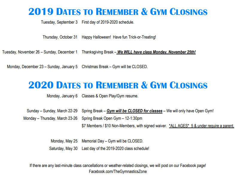 2019-2020 Dates to Remember